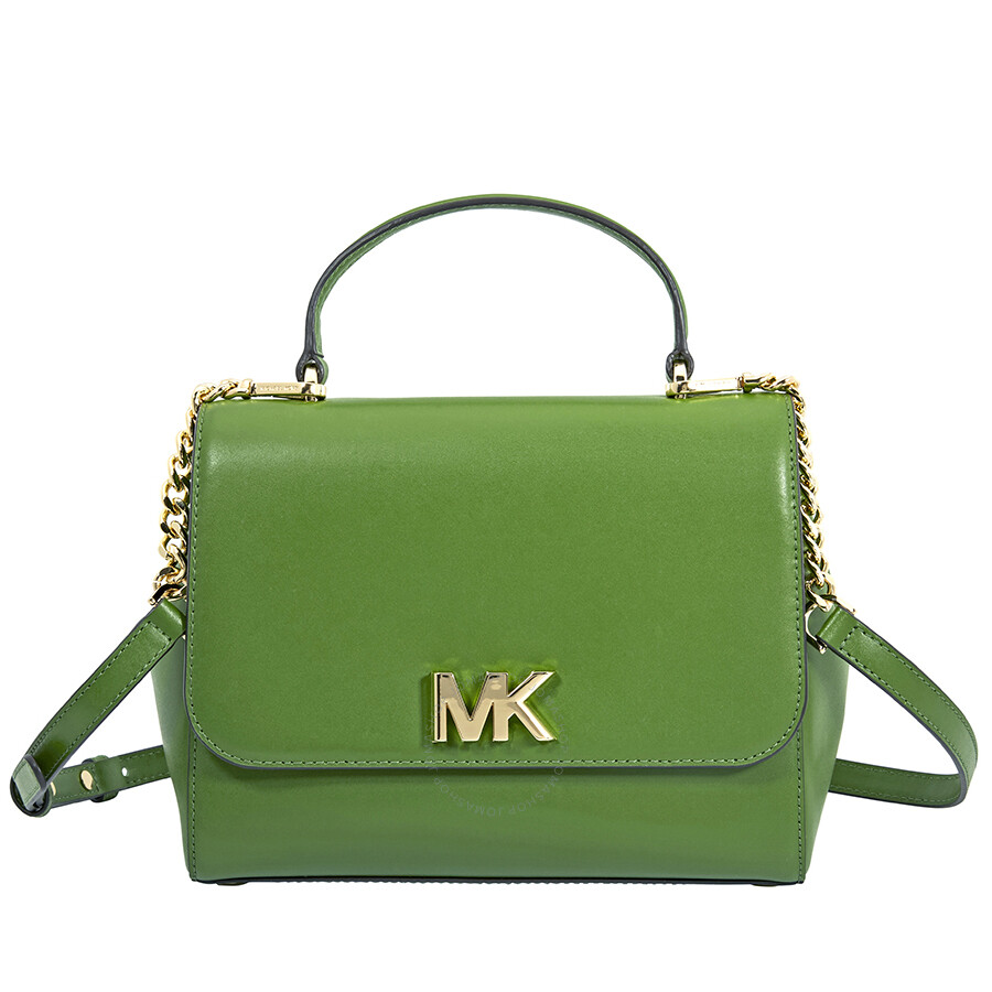 eb9d60e0650b Michael Kors Mott Medium Leather Satchel- True Green Item No. 30S8GOXS2L-304