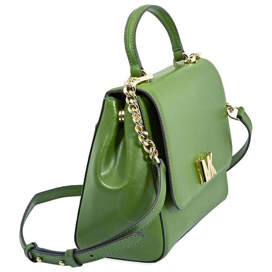 4189190b0ff550 Michael Kors Mott Medium Leather Satchel- True Green - Michael Kors ...