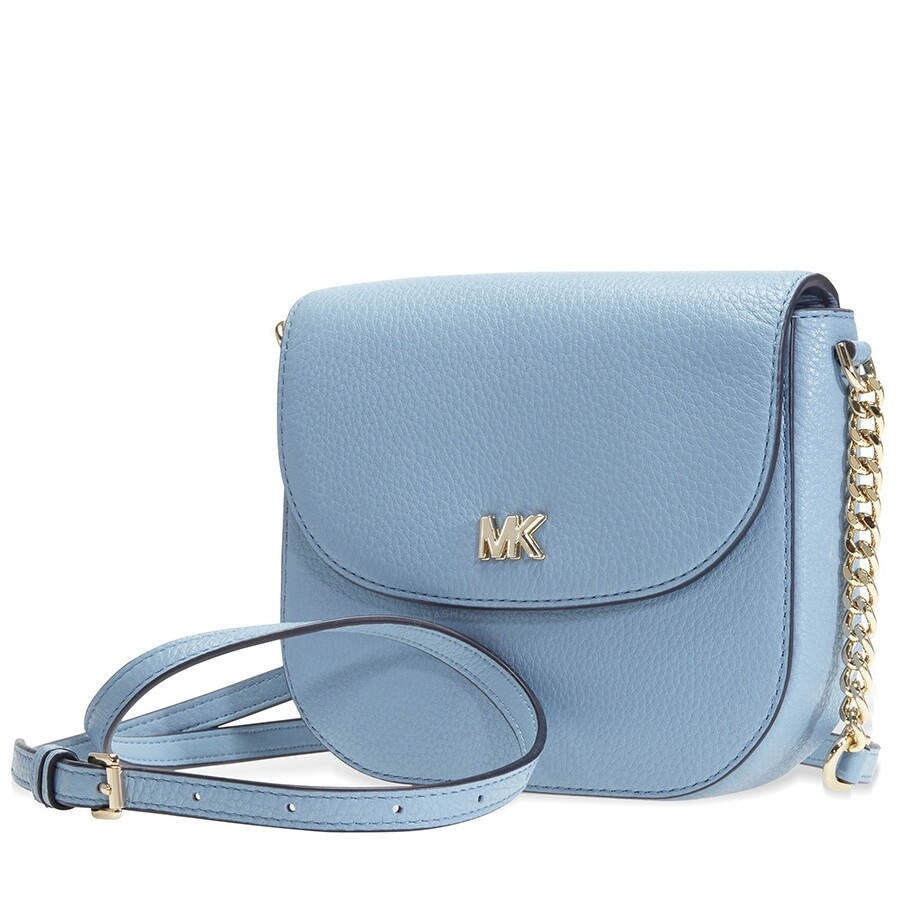 e52ac05e2d2cd5 Michael Kors Mott Pebbled Leather Crossbody- Powder Blue Item No.  32T8TF5C0L-424