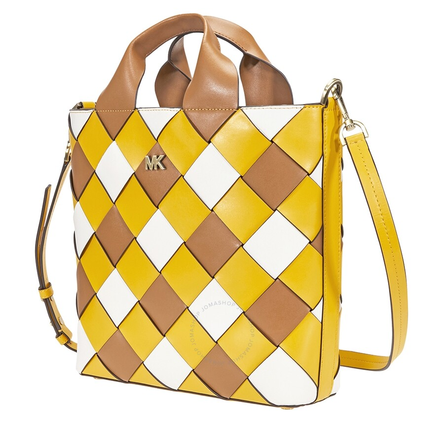 3e8dc3af84a6 Michael Kors Mott Woven Leather Market Tote- Jasmine Yellow Item No.  30H8BOXT6T-761