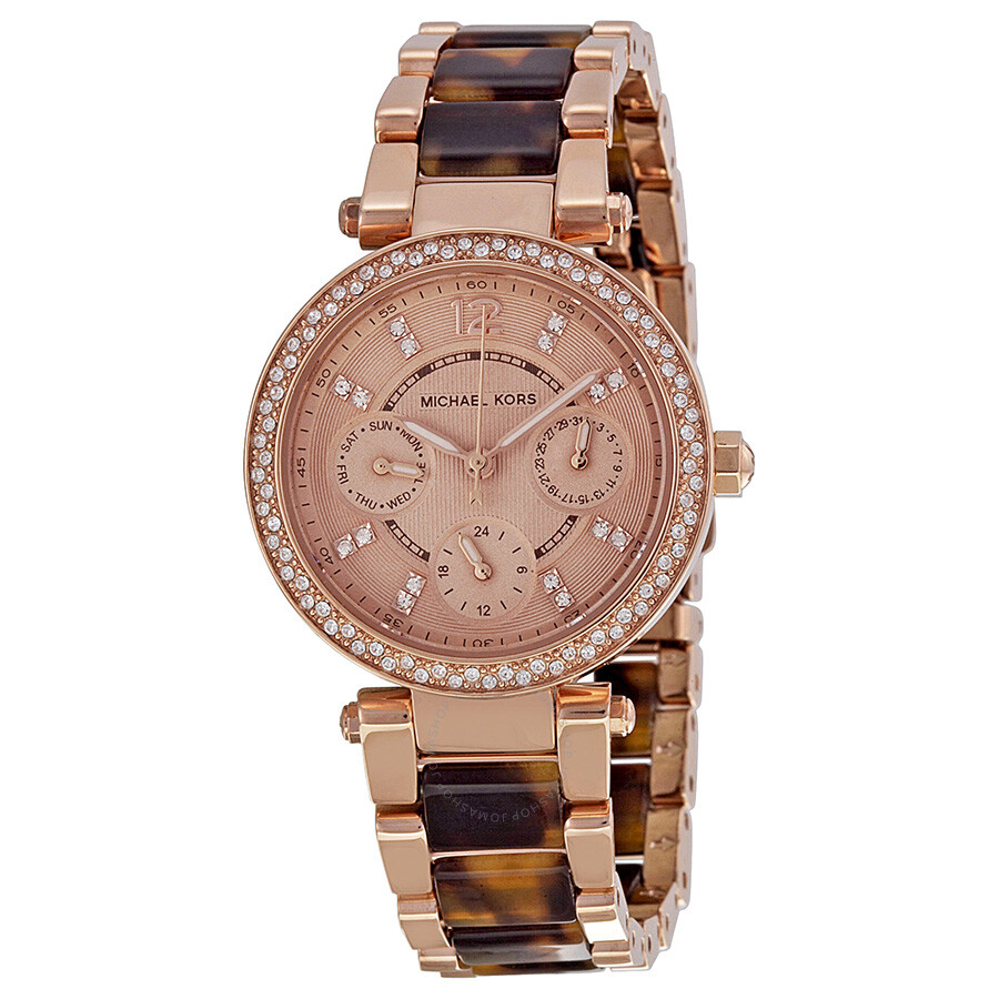 Michael kors multi function rose dial ladies watch mk5841 tortoise michael kors watches for Watches michael kors