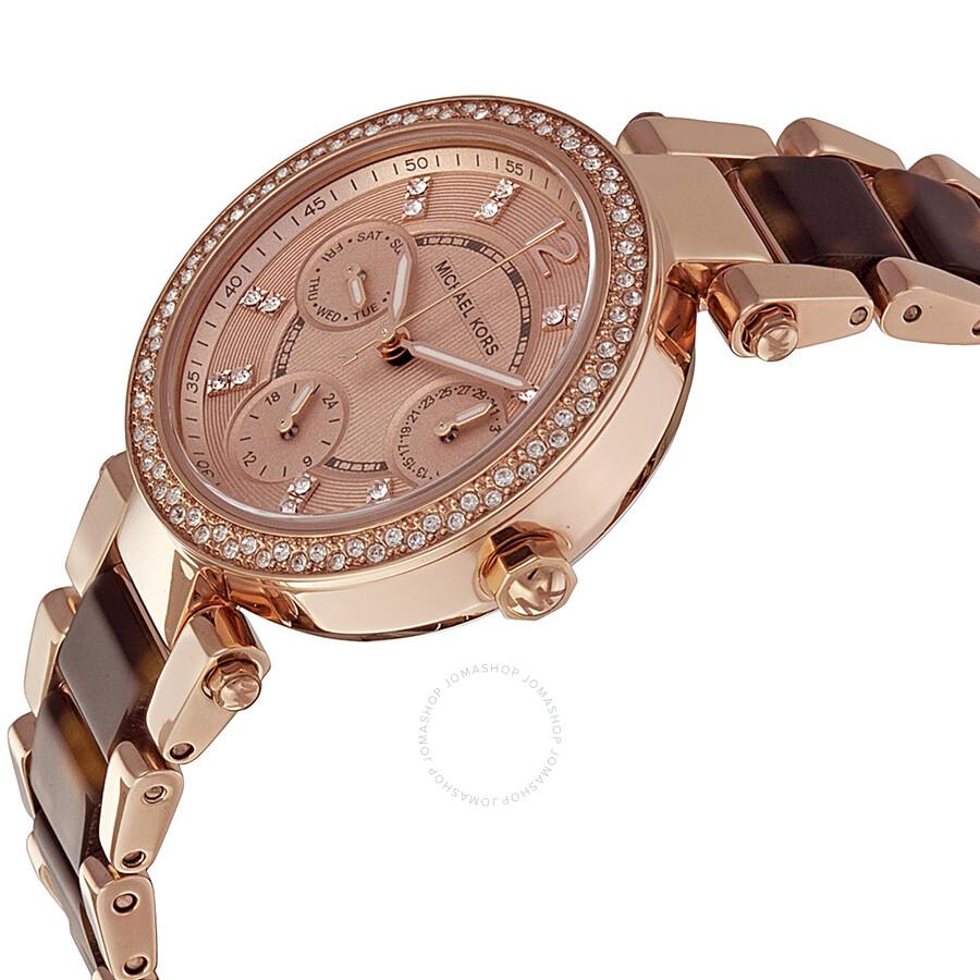 1eaa6a42d319 Michael Kors Multi-Function Rose Dial Ladies Watch MK5841 - Tortoise ...