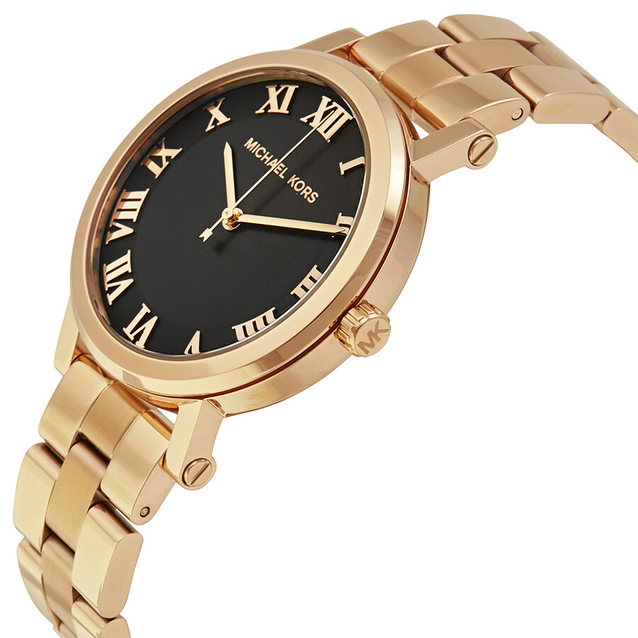 3bc97b44606a ... Michael Kors Norie Black Dial Ladies Rose Gold Tone Watch MK3585 ...