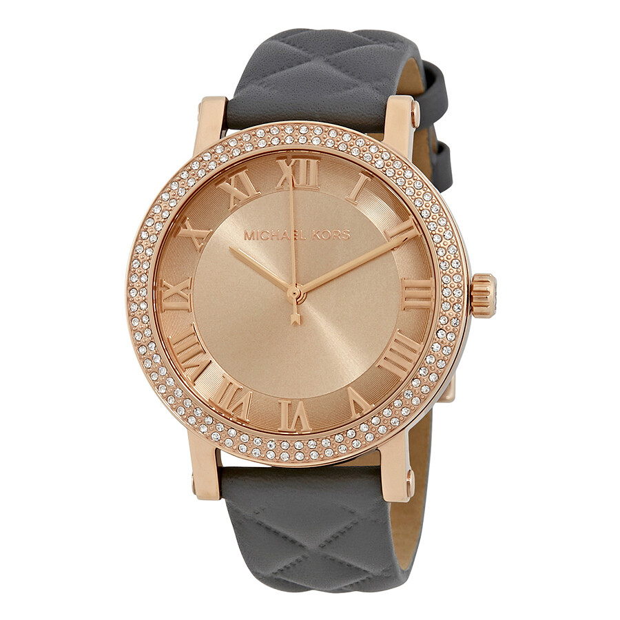 85064b820039 Michael Kors Norie Rose Gold Tone Dial Ladies Leather Watch MK2619 ...