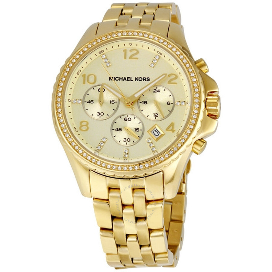 aacf6863774c Michael Kors Oversized Gold-tone Glitz Chronograph Ladies Watch MK5347 ...