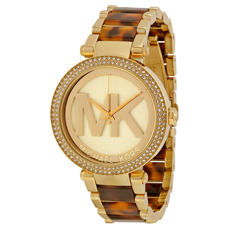 66aa86c142e Michael Kors Parker Champagne Dial Gold-tone and Tortoise-shell Acetate  Ladies Watch MK6109 ...