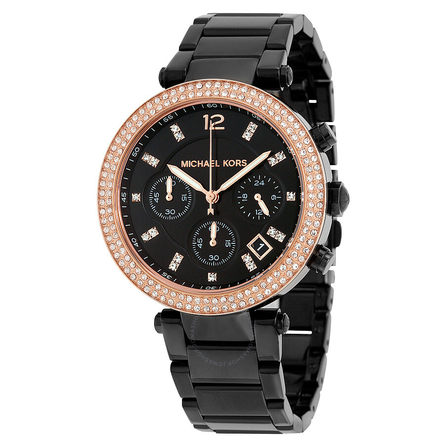 Michael kors parker chronograph black dial black ion plated ladies watch mk5885 parker for Watches michael kors