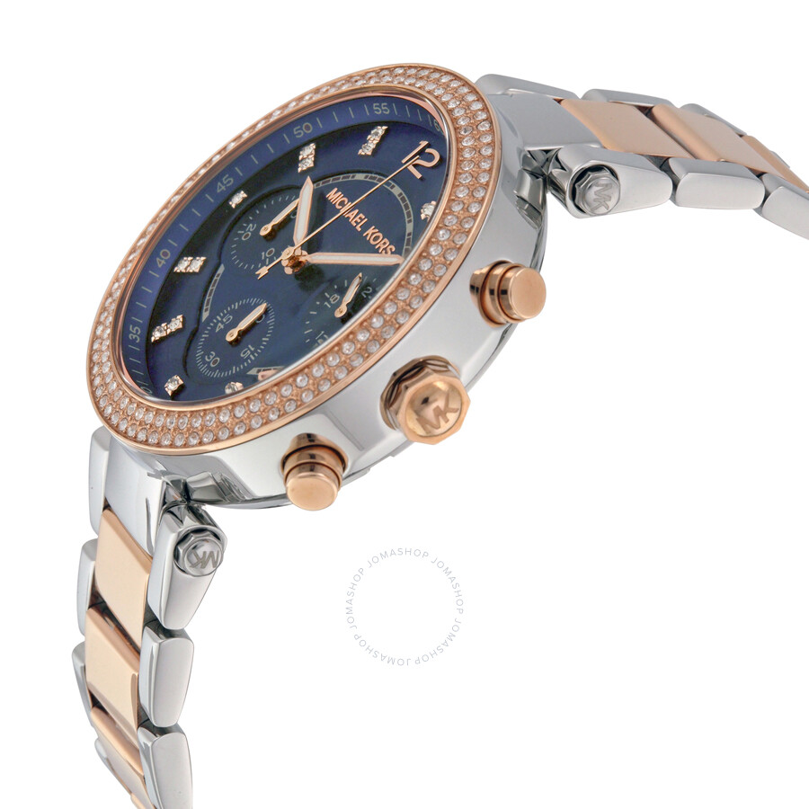 bef5b568c9e8 ... Michael Kors Parker Chronograph Blue Dial Two-tone Ladies Watch MK6141  ...