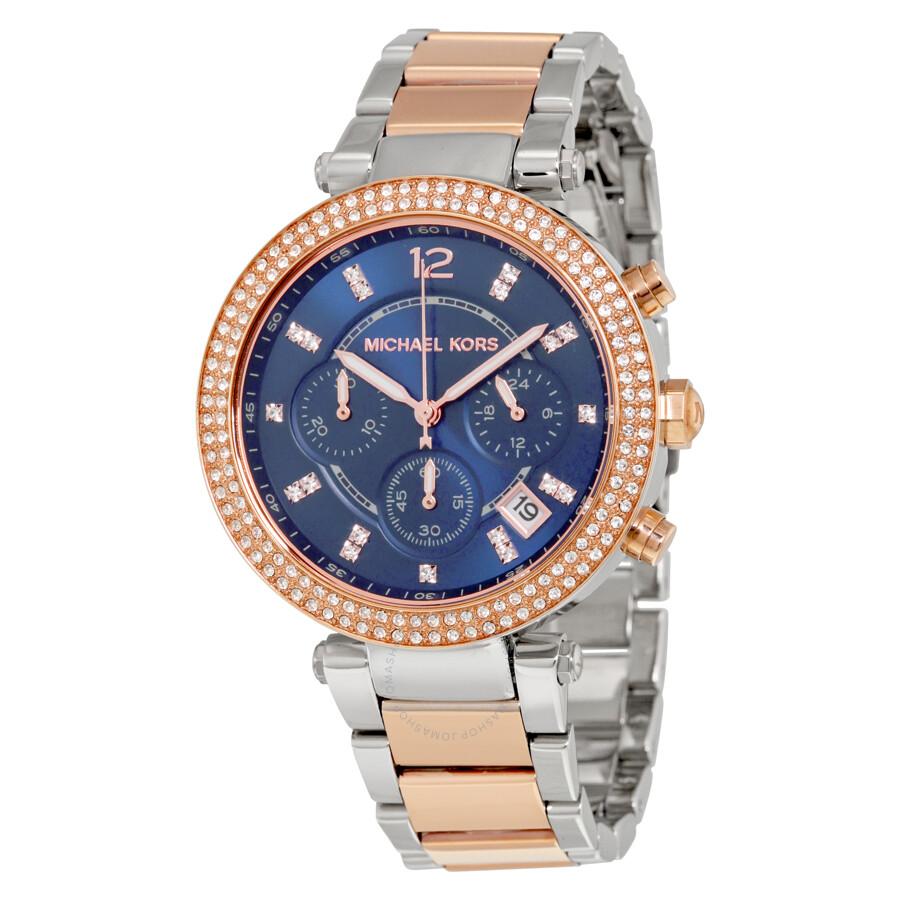 80b95a43fa Michael Kors Parker Chronograph Blue Dial Two-tone Ladies Watch MK6141 ...