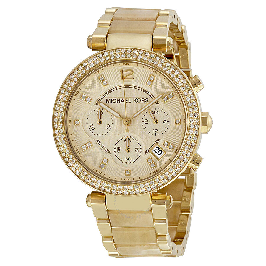 d5c6e167f125 Michael Kors Parker Chronograph Champagne Dial Ladies Watch MK5632 ...