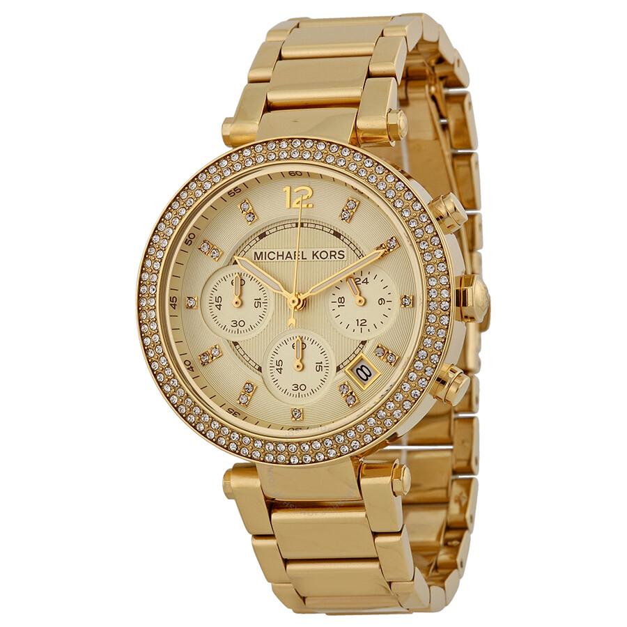 e694b11ef8f2 Michael Kors Parker Chronograph Champagne Dial Ladies Watch MK5354 ...
