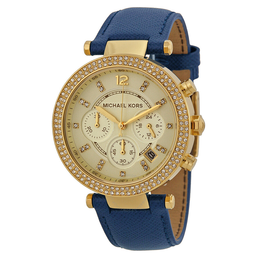 Michael Kors Parker Chronograph Gold-tone Navy Leather ...