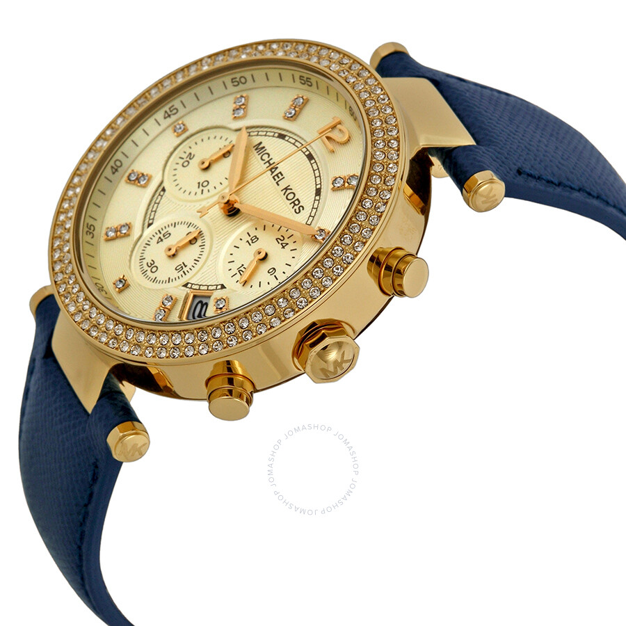 michael kors parker chronograph gold tone navy leather ladies watch mk2280 2 - MK2280 Ladies Michael Kors Parker Chronograph Watch