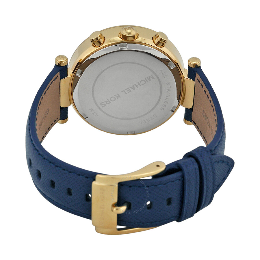 michael kors parker chronograph gold tone navy leather ladies watch mk2280 3 - MK2280 Ladies Michael Kors Parker Chronograph Watch