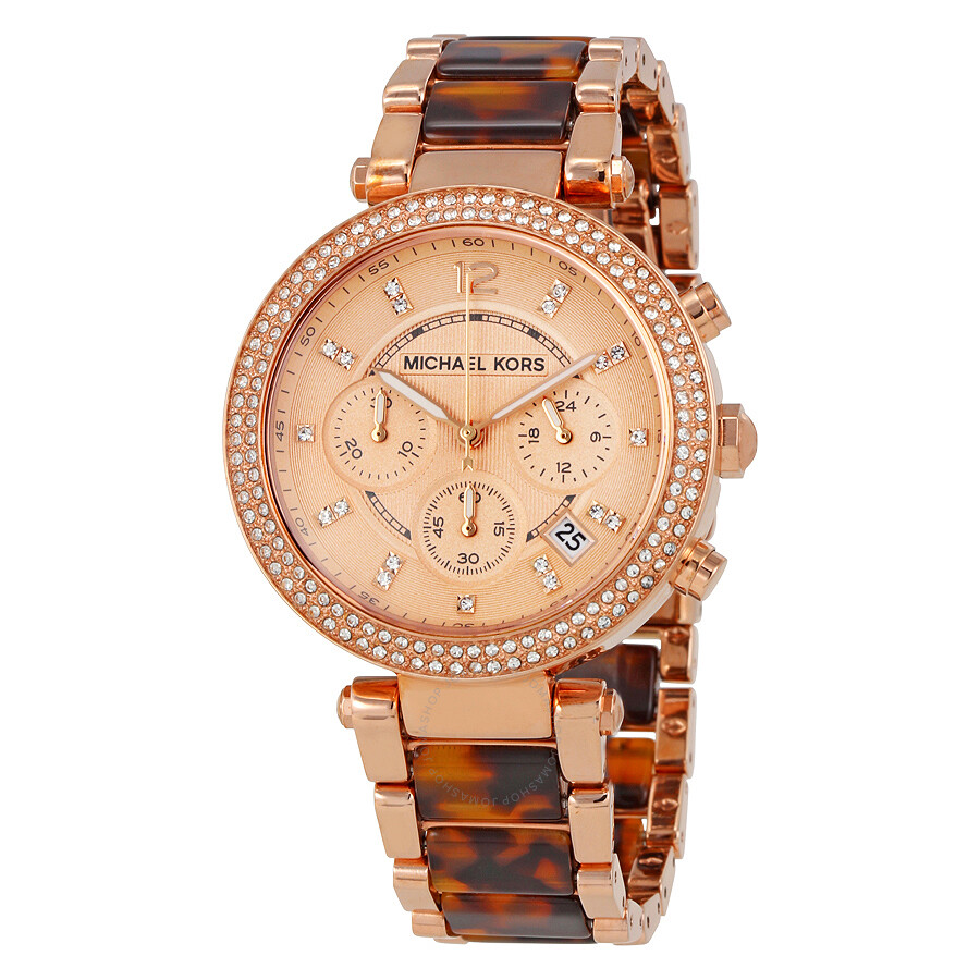 Michael kors parker chronograph rose dial ladies watch mk5538 parker michael kors watches for Watches michael kors