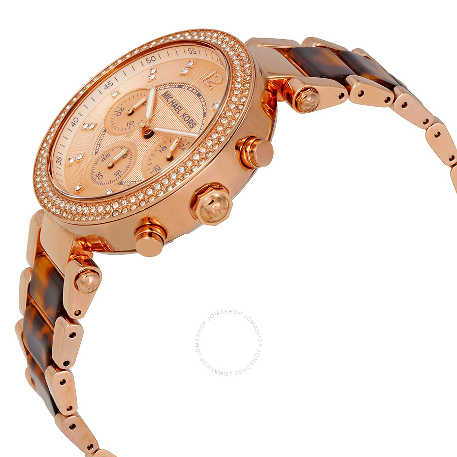 e87efc60411e ... Michael Kors Parker Chronograph Rose Dial Ladies Watch MK5538 ...