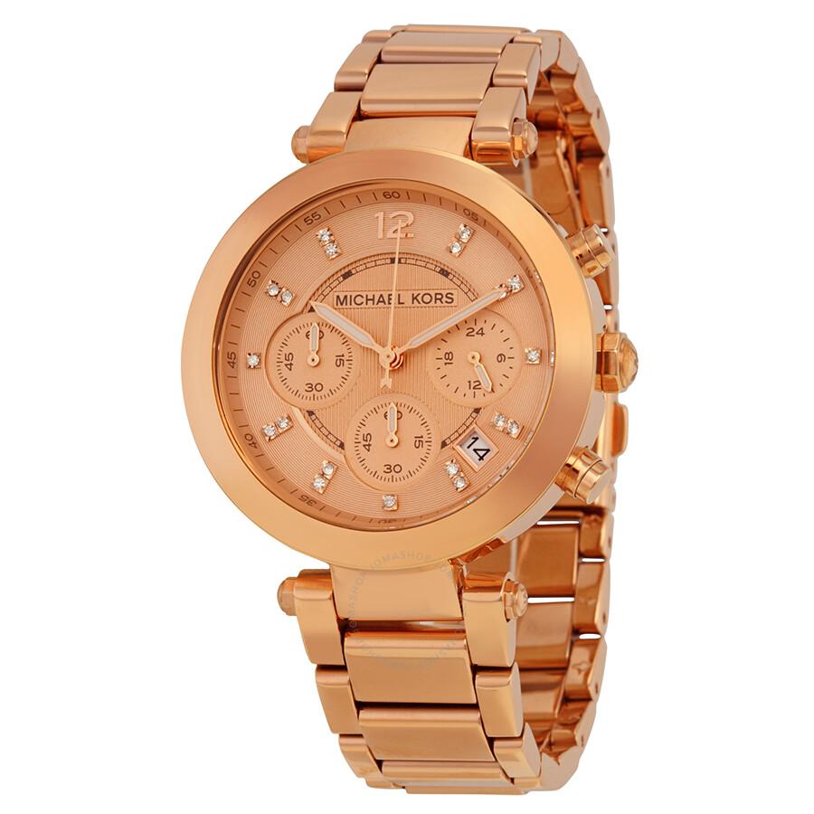 60ecec8ecb31 Michael Kors Parker Rose Gold Dial Ladies Chronograph Watch MK5277 ...