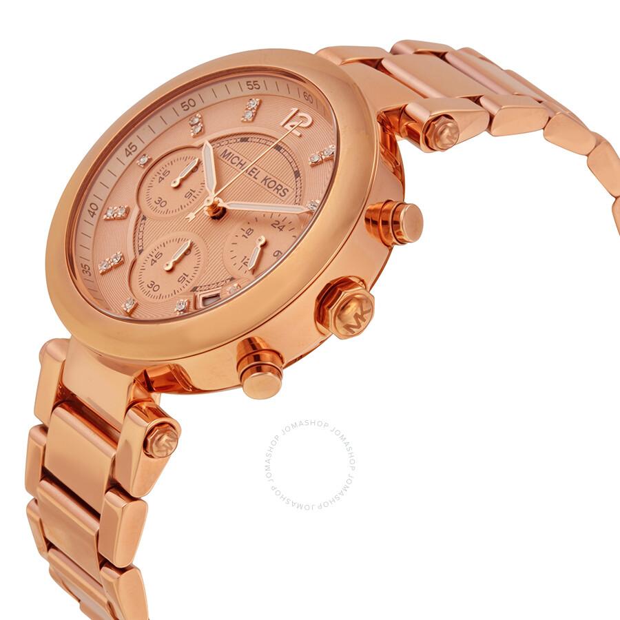 bde60000323d ... Michael Kors Parker Rose Gold Dial Ladies Chronograph Watch MK5277 ...