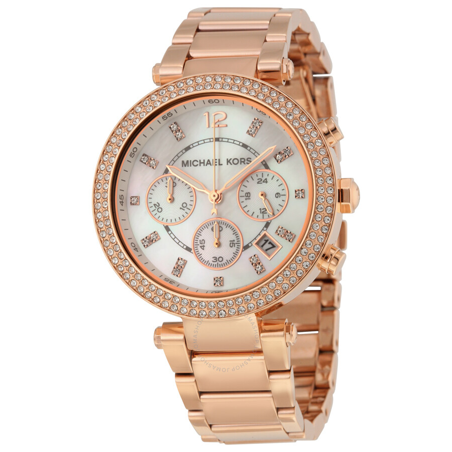 21ff058fb92b Michael Kors Parker Chronograph Rose Gold-tone Ladies Watch MK5491 ...