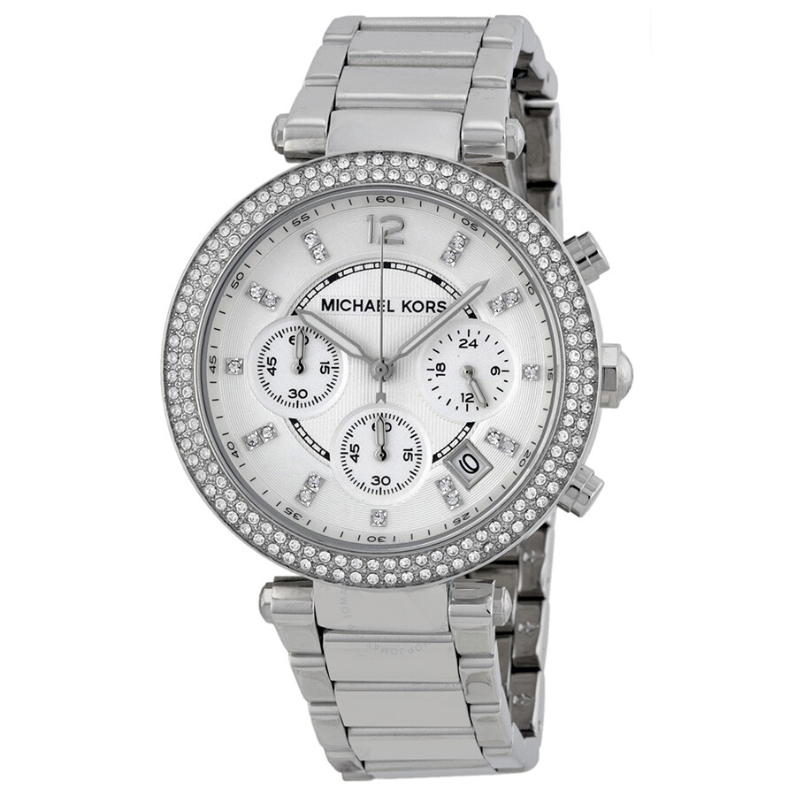 Michael Kors Parker Silver Dial Stainless Steel Chronograph Ladies Watch  MK5353 ...