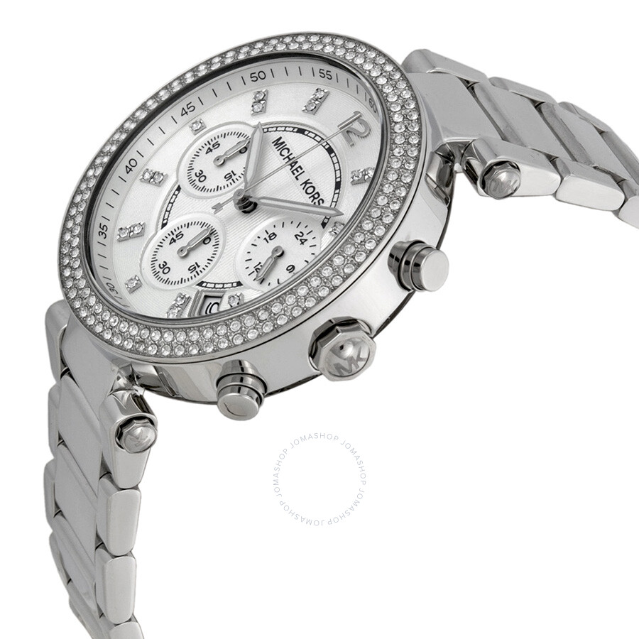 86a692bf23 ... Michael Kors Parker Silver Dial Stainless Steel Chronograph Ladies Watch  MK5353 ...