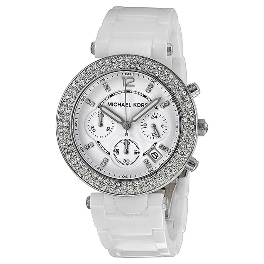 341638a56 Michael Kors Parker Chronograph White Ceramic Ladies Watch MK5654 ...