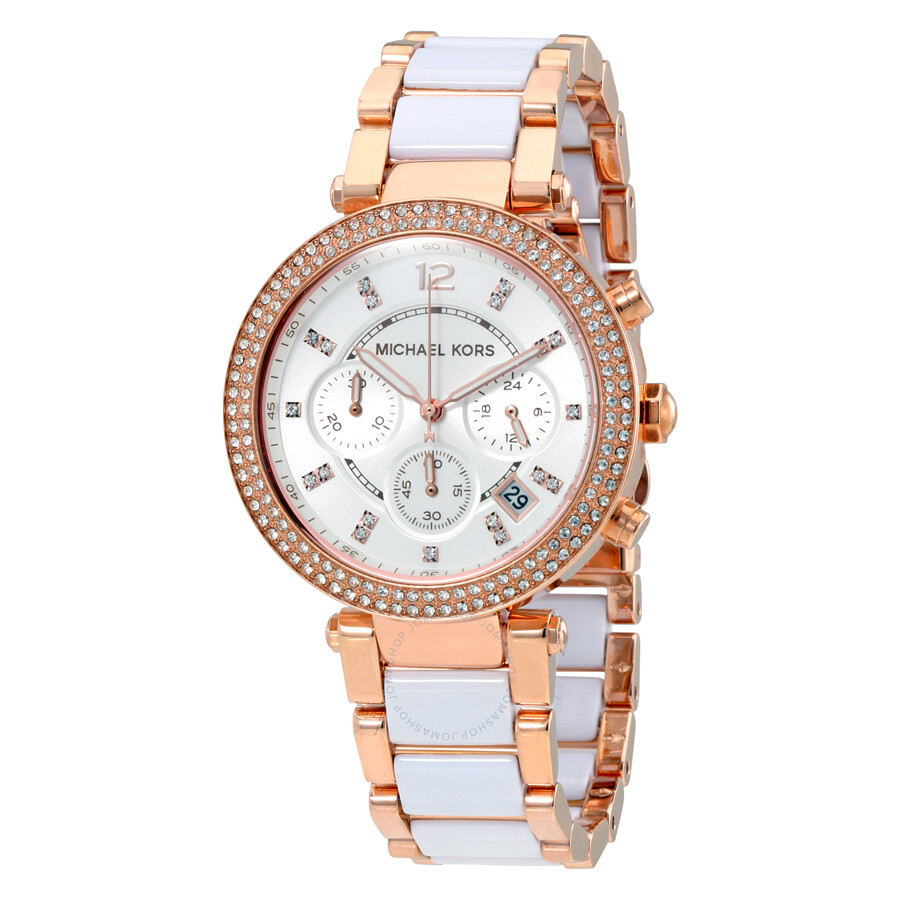 e04b22d54b63 Michael Kors Parker Chronograph White Dial Ladies Watch MK5774 ...