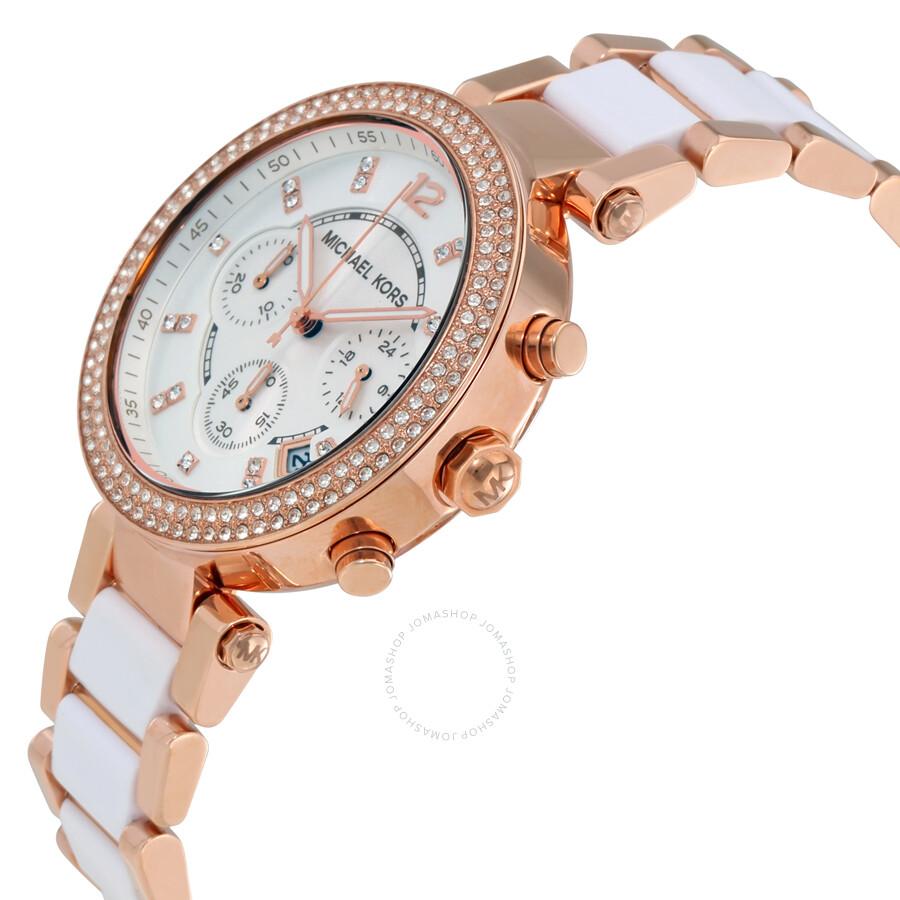 429f67edb84a ... Michael Kors Parker Chronograph White Dial Ladies Watch MK5774 ...