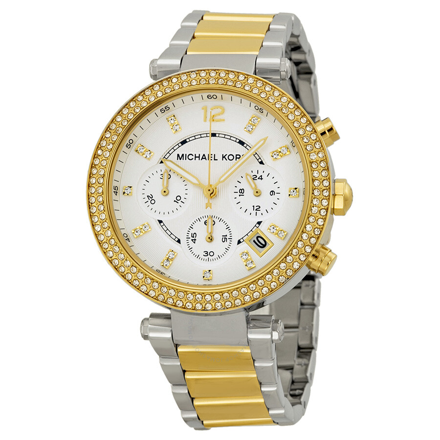 c1ed9180131 Michael Kors Parker Glitz Silver Dial Two-tone Ladies Watch MK5626 ...