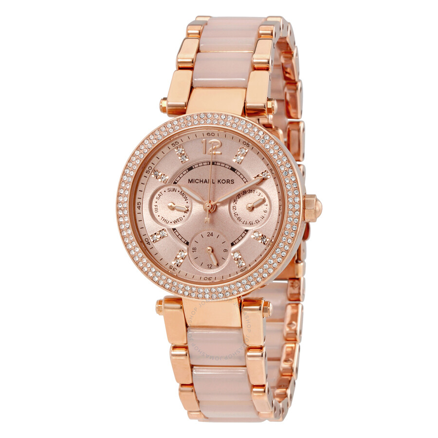 Michael Kors Parker Mini Multi-Function Rose Dial Rose Gold-tone and Blush  Acetate ...
