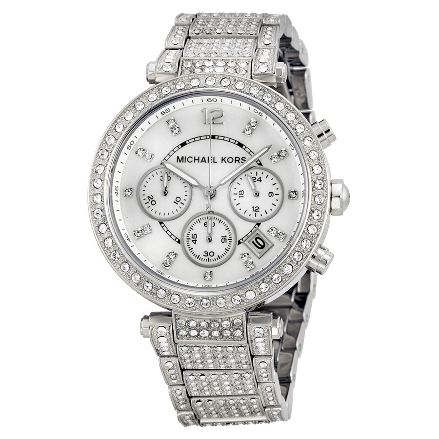 7e79c4fa23ac Michael Kors Parker Mother of Pearl Dial Crystals Steel Ladies Watch MK5572  ...