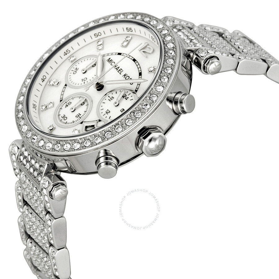 78be43b97e ... Michael Kors Parker Mother of Pearl Dial Crystals Steel Ladies Watch  MK5572 ...