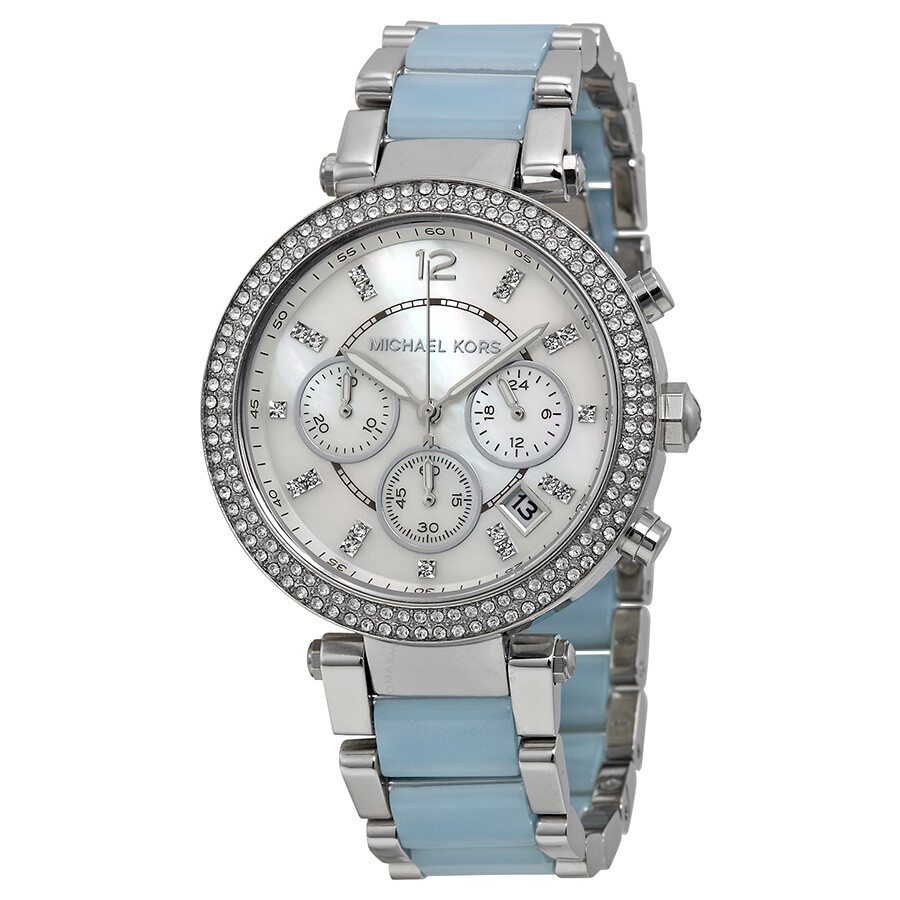 Michael kors parker mother of pearl dial stainless steel and chambray acetate ladies watch for Watches michael kors