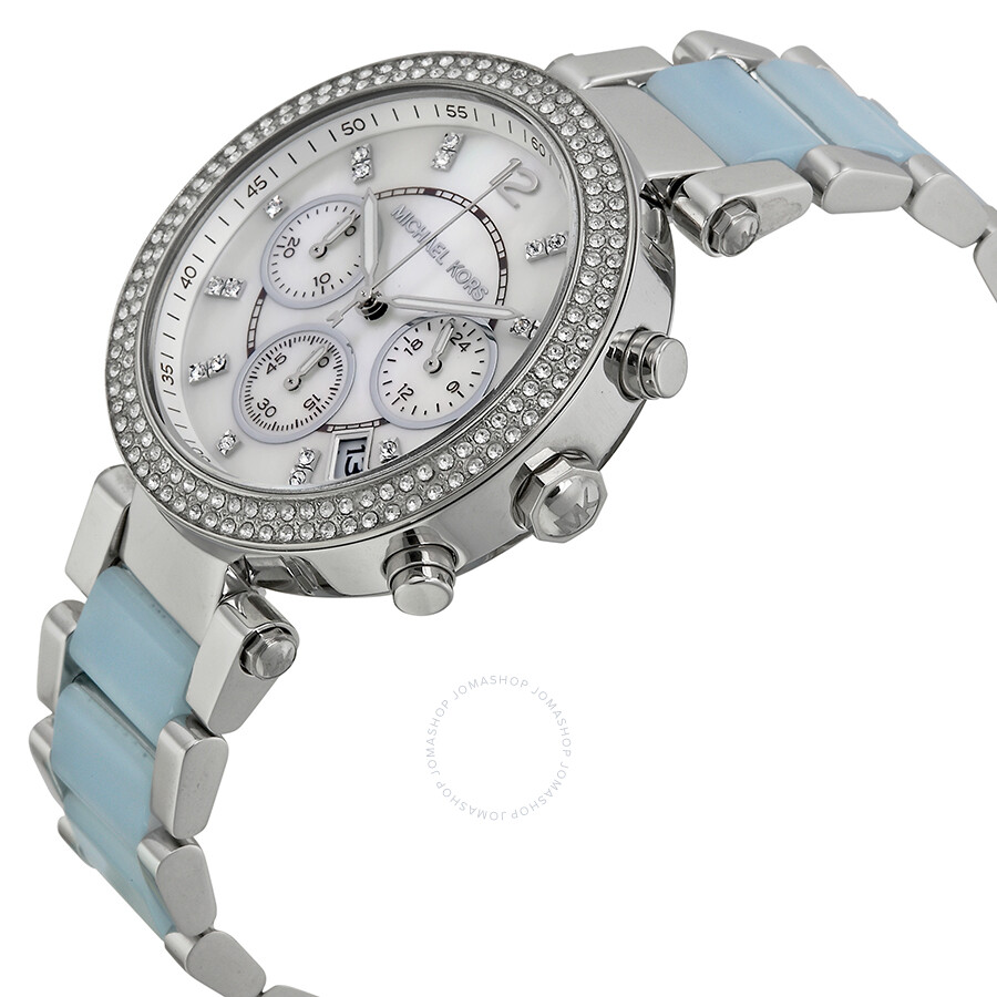 fbe9228e79f0 ... Michael Kors Parker Mother of Pearl Dial Stainless Steel and Chambray  Acetate Ladies Watch MK6138 ...