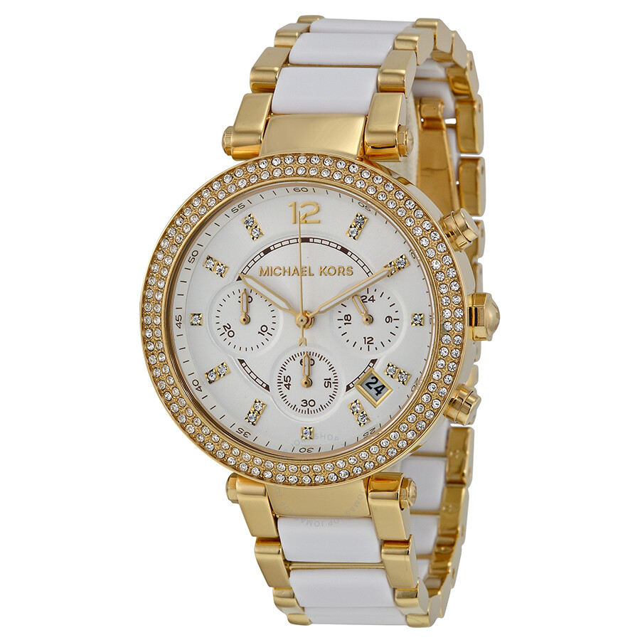 b3fdae583a Michael Kors Parker Multi-function White Dial Ladies Watch MK6119 ...