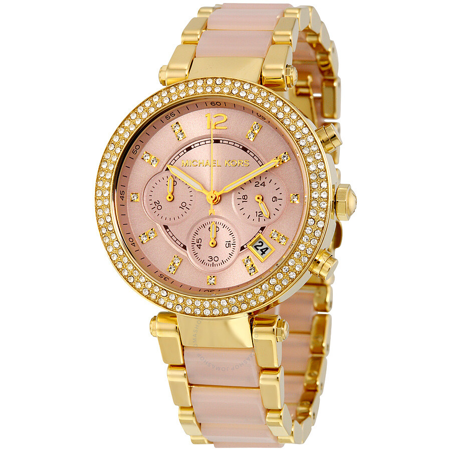 michael kors pink gold tone stainless steel