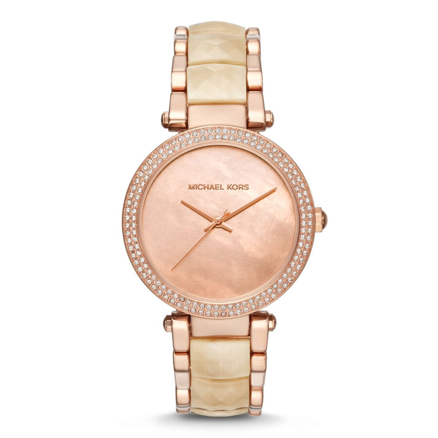 9f72e8f4bba9 Michael Kors Parker Pink Mother Of Pearl Dial Ladies Watch Item No. MK6492