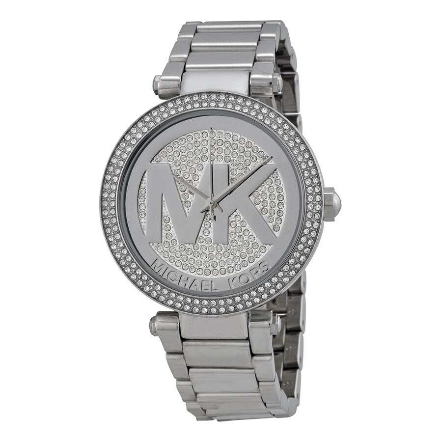 4e36dc14a8ff Michael Kors Parker Silver Crystal Pave Dial Ladies Watch MK5925 ...
