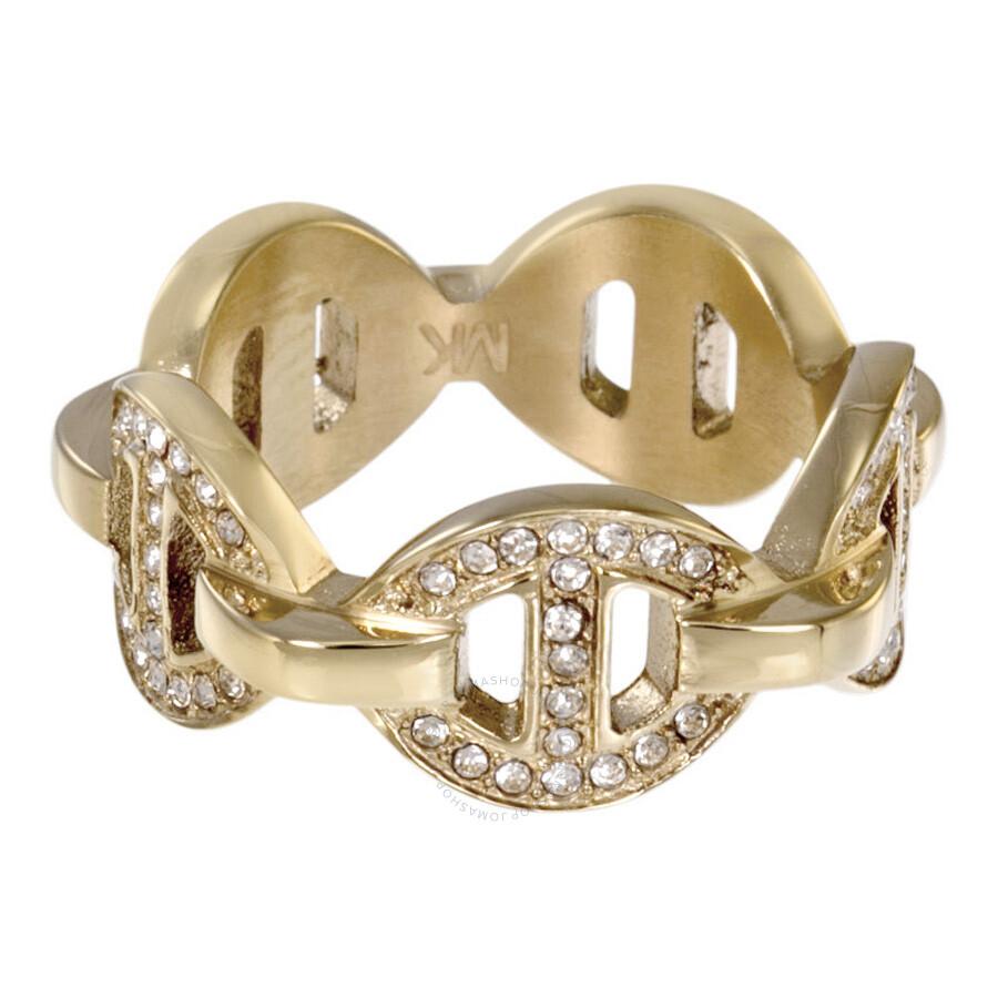 michael kors pave maritime link gold tone ring mkj3993710 7 size 7 michael kors ladies. Black Bedroom Furniture Sets. Home Design Ideas