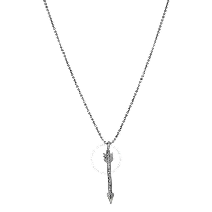 b5eb4cf347df6 Michael Kors Pave Silver Tone Arrow Pendant Necklace MKJ3949040 ...