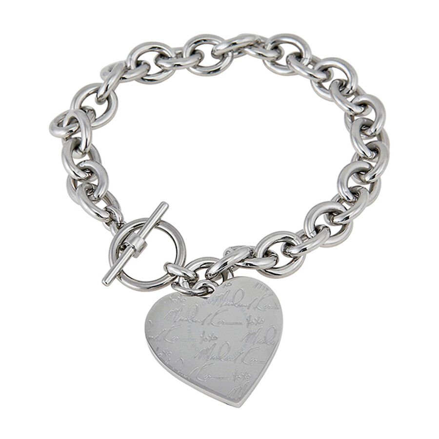1254cf8b8e647 Michael Kors Pave Silver-tone Heart Charm Bracelet MKJ3964040 ...
