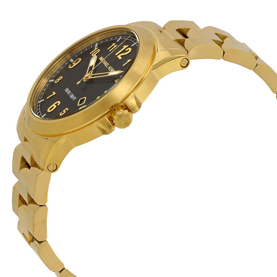 c23091742db4 ... Michael Kors Paxton Black Dial Ladies Gold Tone Watch MK8555 ...