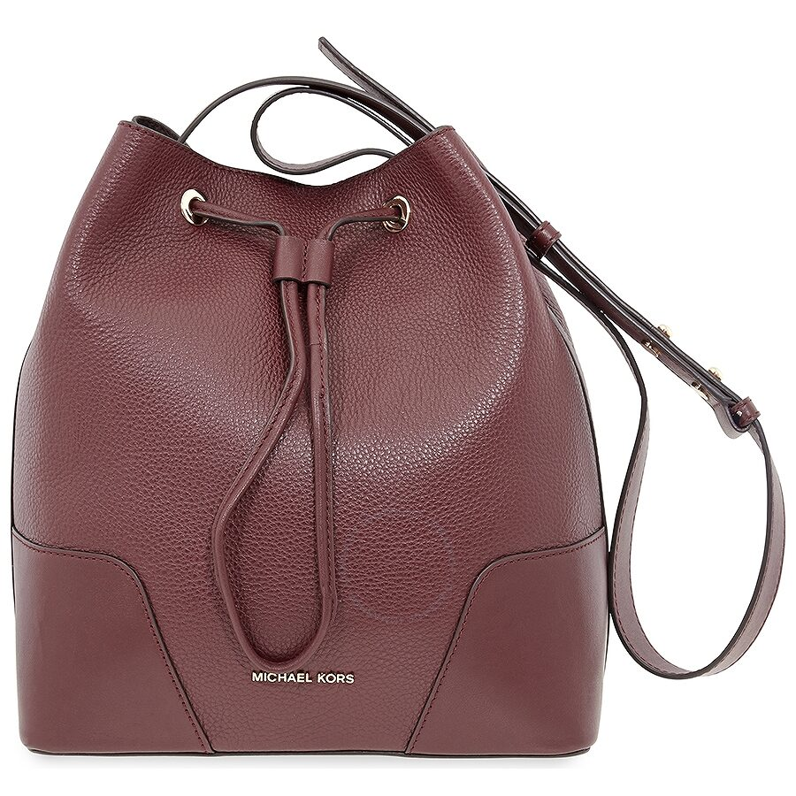 39aed29a488256 Michael Kors Pebbled Leather Bucket Bag- Oxblood - Michael Kors ...