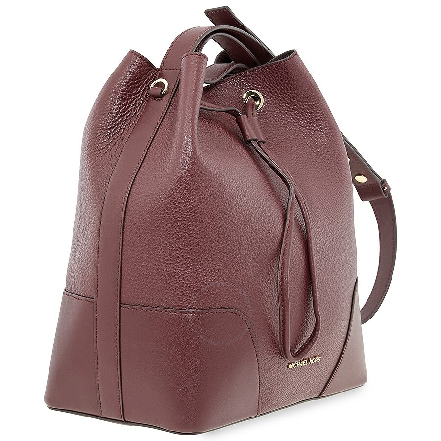 Michael Kors Pebbled Leather Bucket Bag Oxblood