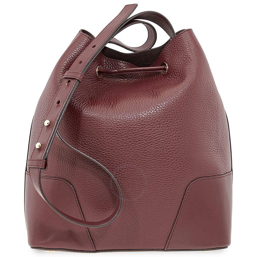 8aae77f537e8 Michael Kors Pebbled Leather Bucket Bag- Oxblood - Michael Kors ...