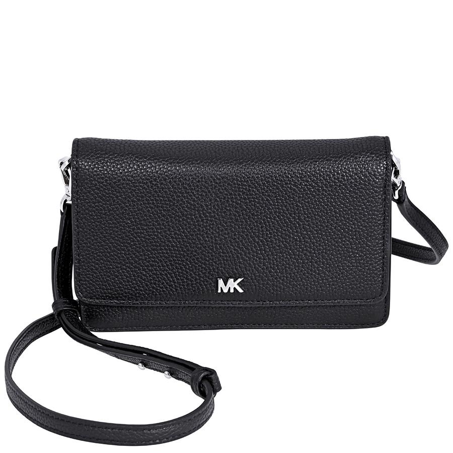 073380435588 Michael Kors Pebbled Leather Convertible Crossbody- Black Item No.  32T8SF5C1L-001