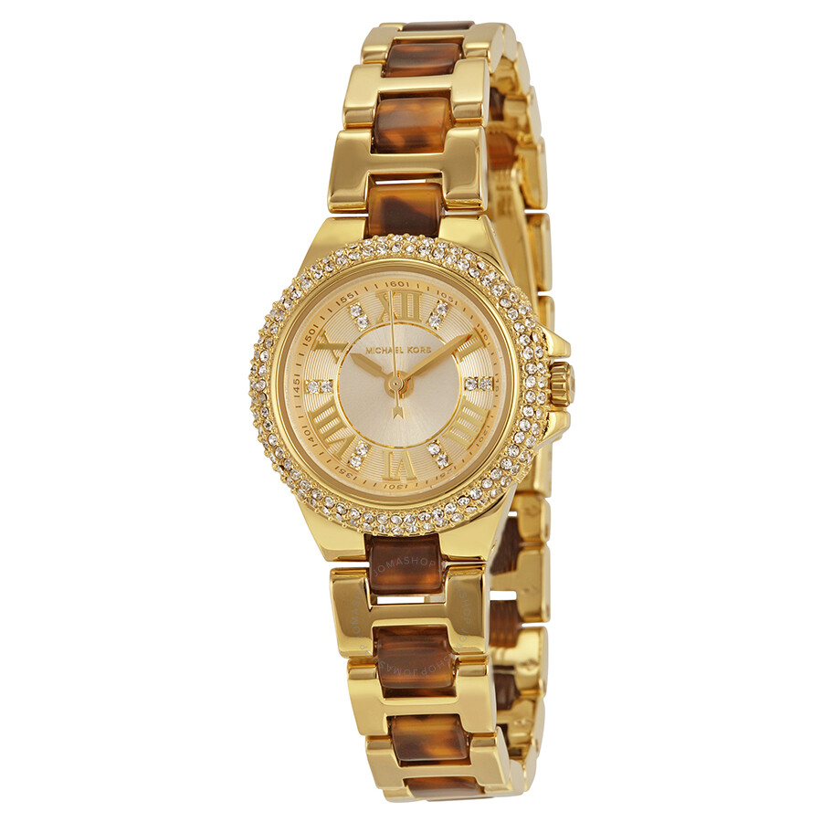 3f4ee2147432 Michael Kors Petite Camille Gold Dial Gold-tone Tortoise-shell Acetate  Ladies Watch MK4291 ...