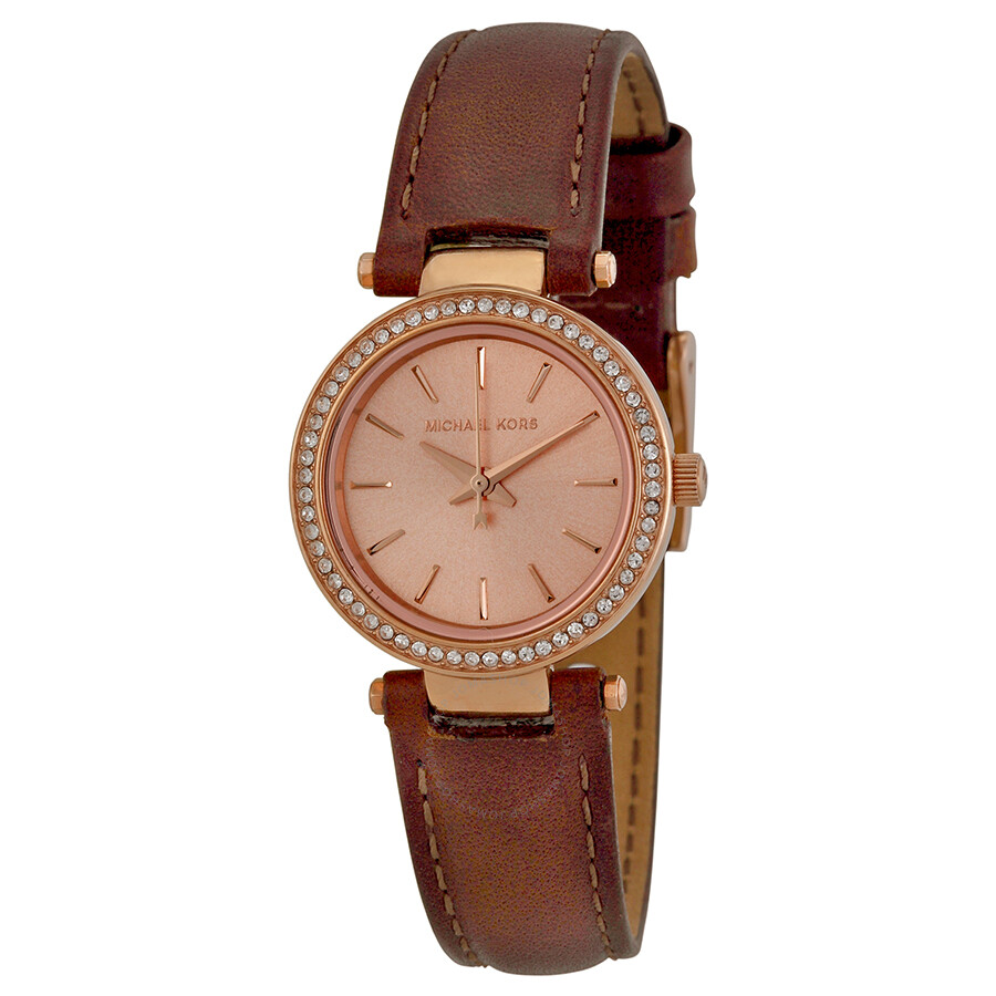 Michael Kors Petite Darci Rose Dial Brown Leather Ladies ...