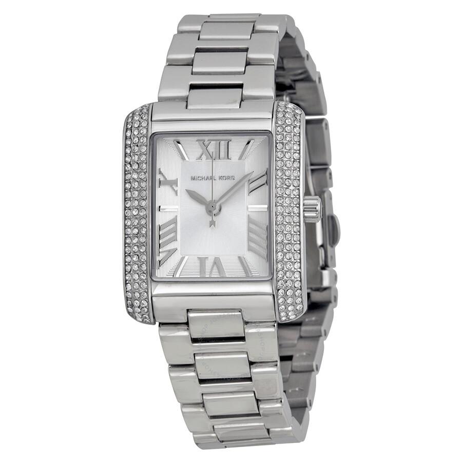 6028caef5bde8 Michael Kors Petite Emery Silver Dial Stainless Steel Ladies Watch MK3289  ...