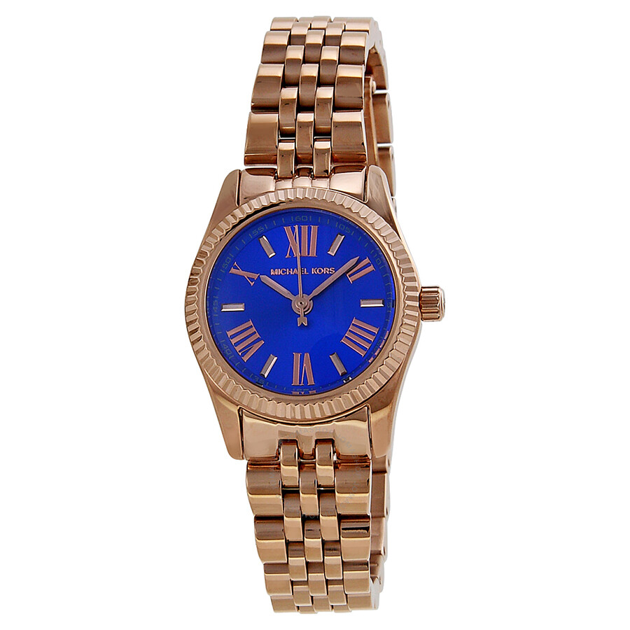 cdac8a693d4b Michael Kors Petite Lexington Blue Dial Rose Gold-tone Ladies Watch MK3272  ...
